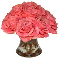 "12"" Roses In Flared Vase, Faux, Vases"
