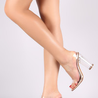 Transparent Open Toe Metallic Mule Round Perspex Heel