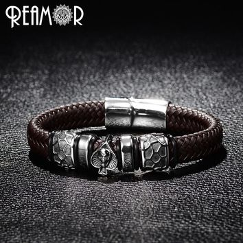 REAMOR Punk Style Bangle 316L Stainless Steel Spades Skull Head Charms Trendy Male Bracelet Black Wide Braided Leather Bracelets