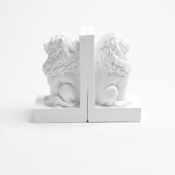 """FINAL SALE: Lion Guard Bookends Set, 4"""" Tall White Resin Lion Book Ends, Office Organization, Shelf Decor or Library Decor"""