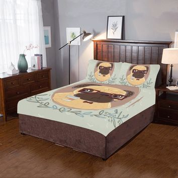 Pug hipster with cup of coffee 3-Pieces Bedding Set