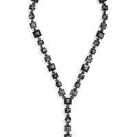 Women's BaubleBar 'Princess' Y-Chain Necklace - Black/ Hematite