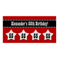 55th Birthday Red Black White Stars Banner V55S Posters