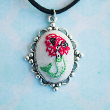 Mermaid Necklace - Mermaid Jewelry - Cameo Necklace - Hand Stitched Necklace - Fabric Embroidery - Embroidered Necklace - Pendant Necklace
