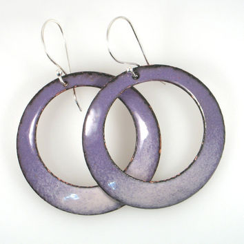 Enamel Hanging Earrings in Purple