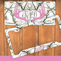 Pink Antlers White Camo Monogram License Plate Frame Holder Metal Wall Sign Tags Personalized Custom Vanity Plate