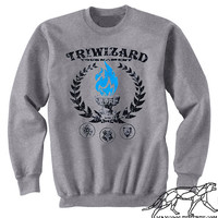 Harry Potter SWEATSHIRT TRIWIZARD Tournament UNISEX  Heather Grey - Blue Flame of the Goblet of Fire Spits Out Harry Potter's Name