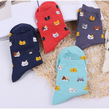 Accessories Cat Candy Color Tube Socks Funny Crazy Cool Novelty Cute Fun Funky Colorful