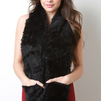 Faux Fur Double Button Pocket Scarf