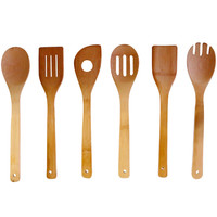 Evelots Set Of 6 Bamboo Cooking Utensil Set, Baking Kitchen Serving Tools