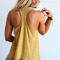 Here Comes The Sun Ruffle Tunic Top - Mustard