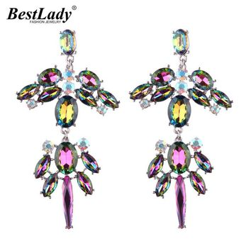 Best lady Wedding Glass Crystal Statement Earrings Wholesale Multicolored Bohemian Gifts Hot Long Drop Dangle Earrings 5507