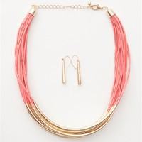 Stranded in Paradise Metal Bar Multi Strand Cord Necklace - Pink
