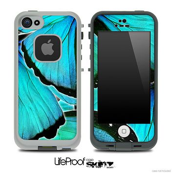 Turquoise Butterfly Bundle V4 Skin for the iPhone 5 or 4/4s LifeProof Case