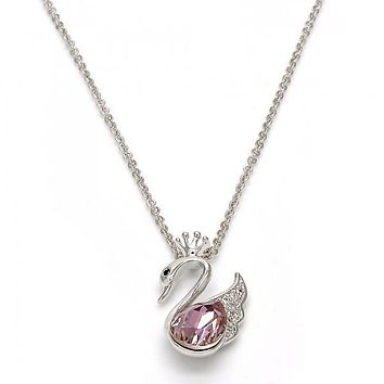 Rhodium Plated Fancy Necklace, Swan and Crown Design, with Swarovski Crystals and Micro Pave, Rhodium Tone