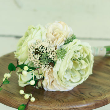 Silk Mint Peony Wedding Bouquet with Roses and Ivory Peony - Small - Silk Bouquet