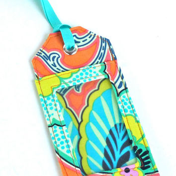 Fabric Luggage Tag Tangerine Orange Floral