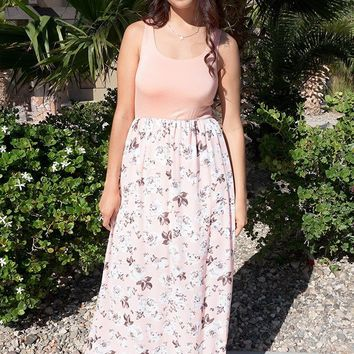 Turn On The Charm Peach Floral Print Maxi Dress