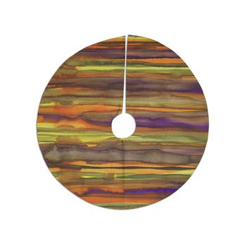 "Miranda Mol ""Tropical Sunset"" Gold Orange Abstract Stripes Watercolor Painting Tree Skirt"