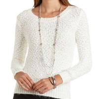 Fuzzy Popcorn Knit Sweater by Charlotte Russe