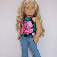 18 inch doll clothes, floral halter top, light blue denim flare leg jeans, american girl ,maplelea