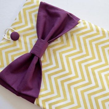 "Macbook Air 11 Sleeve MAC Macbook 11"" inch Laptop Computer Case Cover Gold & White Chevron with Maroon Bow"