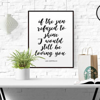Led Zeppelin Lyrics Quote Print printable wall art decor poster Thank You song lyrics song quote song quote poster Led Zeppelin GIFT IDEA
