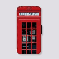 Telephone booth for Samsung Galaxy Note 2 Case Leather Card Slot Wallet