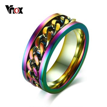 Vnox Stylish 8mm Flexible Rotatable Chain Ring for Men Stainless Steel Wedding Band Unisex Jewelry Multi Color Male Jewellry