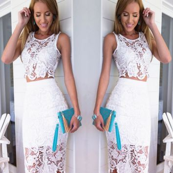 Sleeveless lace brief paragraph two-piece outfit