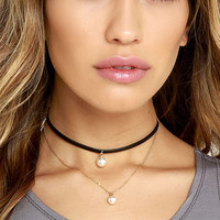 Fashion Double Layer Choker Necklace Velvet Leather Gold Chain Simulated Pearl Necklaces Pendants NX377