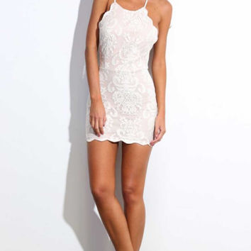 Women Sexy Halter Embroidery Stunning Backless Lace White Love Dress