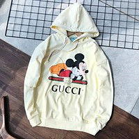 GUCCI New fashion stripe letter mouse print couple hooded long sleeve sweater top