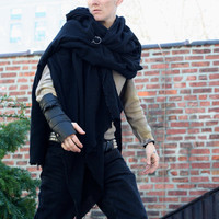 Black Wrap Short Cloak with Single Leather Vambrace, Lightweight Wrap Cloak Single Bracer, Black Leather