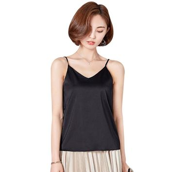 Spaghetti Strap Silk Tank Tops For Women 2018 Summer Shirt V Neck Sexy Satin Cami Top Backless Singlet Undershirt Camisole Femme