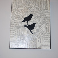 SALE  Love Birds  2 Bird silhouettes sitting by SamanthiaByDesign