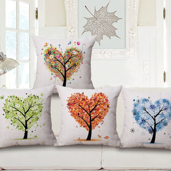 Flower Colorful Tree Pillow Case Tree of Life Throw Pillow 45*45 Christmas Pillow Case Vintage Decorative Pillow Case Home