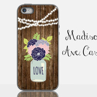 Rustic Wood Mason Jar Navy Blue String Lights Wedding Bridesmaid Girl Gift Flower Samsung Galaxy Edge iPhone 5s 4 4s 6 Plus Tough Phone Case
