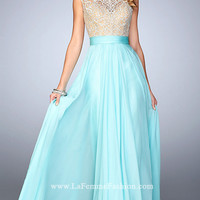 La Femme Prom Dress with Illusion Back