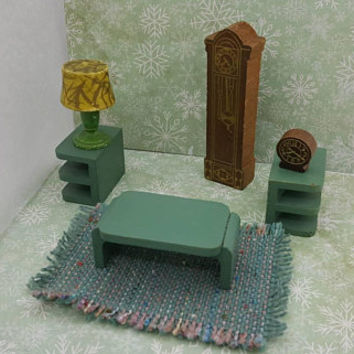 Strombecker Living room pieces Wood miniature dollhouse furniture lamp clocks tables