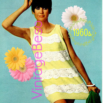 Beach Dress 1960s Vintage KNITTING Pattern Ladies Sleeveless Dress Mod Summer Wear VintageBeso Instant Download PDF Pattern Cute Coverup