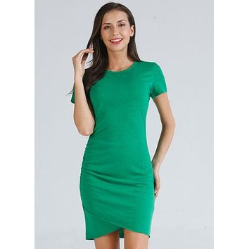 Ruched Short Sleeve Dress - Green