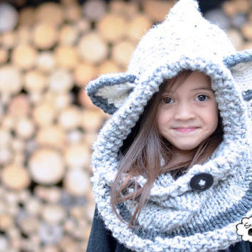 Knit Fox Hood,  Grey Chunky Knit Hood, Child, Infant, Toddler,Winter Hood, Hood,Grey Hood, Fox Hood-Custom Order Color and size