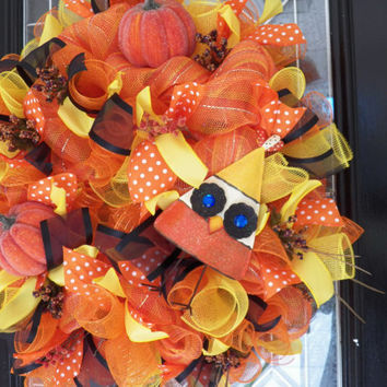 XL Halloween Wreath, Candy Corn Themed Decoration, Deco Mesh Wreath, Whimsical Wreath, Door hanger, Ready to Ship