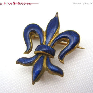 SALE Vintage Fleur de Lis Brooch - Blue Guilloche Enamel - Watch or Locket Holder