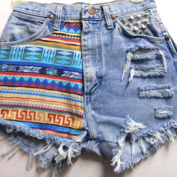 Vintage High Waist  Denim Shorts Tribal Print by Turnupthevolume