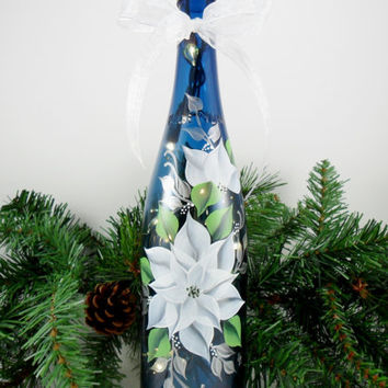 Blue Lighted Wine Bottle White Poinsettia Hand Painted 750 ml