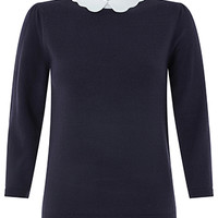 Monsoon | Sicily Scallop Collar Jumper | Navy | 8