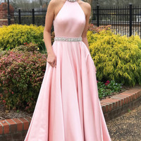 Elegant Beaded Pink Long Prom Dress with Open Back Ball Gowns
