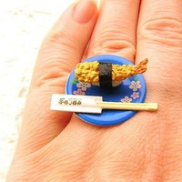 Tempura Sushi And Chopsticks Ring 2 by SouZouCreations on Etsy
